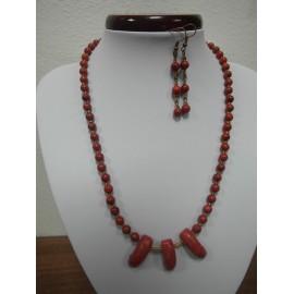 Hubový korál - náhrdelník,náušnice
