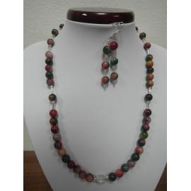 Kunzit - krištáľ - náhrdelník,náušnice