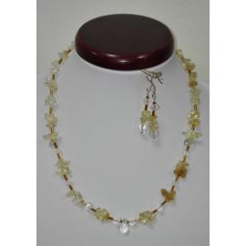 Citrín-horský krištáľ - náhrdelník,náušnice