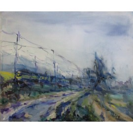 Obraz - Olejomaľba na sololite - Zimná krajina - Monika Vitányi