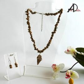 Jaspis- jaspis neleštený - náhrdelník -náušnice