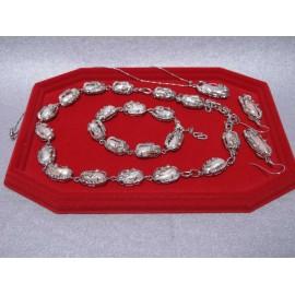 Perla-broskyňová-biwa-náhrdelník, náhrdelník na retiazke, náramok a náušnice
