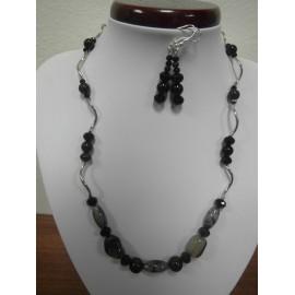 Krištáľ s rutilom - ónyx - náhrdelník,náušnice