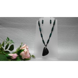 Azurit, chryzokol, onyx náhrdelník a náušnice