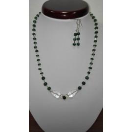 Náhrdelník a náušnice-Smaragd-horský krištáľ+striebro