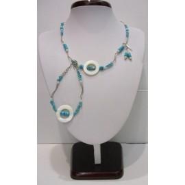 Náhrdelník, náušnice a náramok- tyrkys pravý, jadeit, perleť a striebro