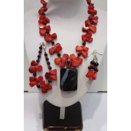 Náhrdelník,náušnice,náramok z koralu a ónyxu