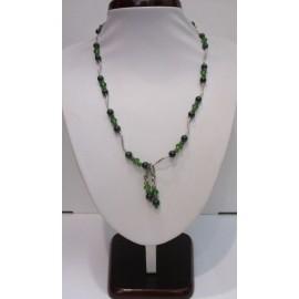 náhrdelník,náušnice -malachyt,sklo,Ag 925