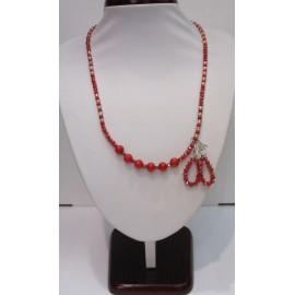 náhrdelník,náušnice-koral,krveľ,sklo