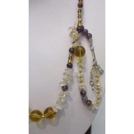 Citrín - ametyst - náhrdelník a náramok