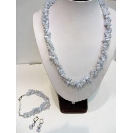 Chalcedon-sada,náhrdelník,náušnice,náramok