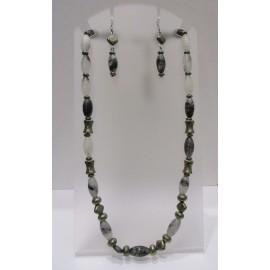 c6d94415f pyrit a kryštál s turmalínom- náhrdelník a náušnice
