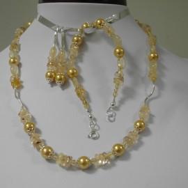 sada,citrín,shell perla a striebro Ag925,náhrdelník,náušnice,náramok
