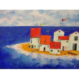 Obraz - Akryl na plátne - Bar na pláži- Silvia Sochuláková