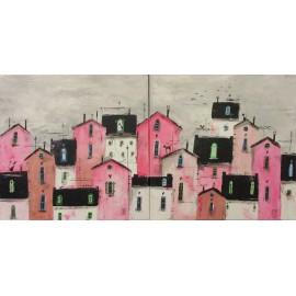 Obraz - Akryl na plátne - Ružový dvojobraz- Silvia Sochuláková