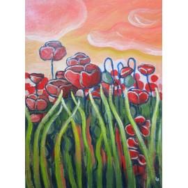 Obraz - Akryl - Divý mak v tráve - Mgr. Lenka Harvaníková