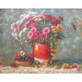 Obraz - Olejomaľba -Chryzantémy so slivkami- Michal Sabo Balog