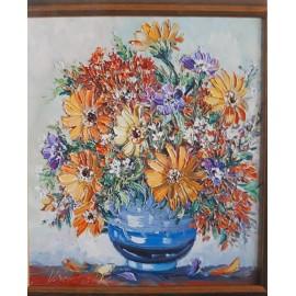 Obraz - Olejomaľba- Kvety vo váze - Vladimír Semančík