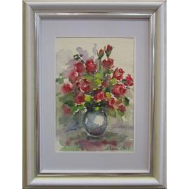 Obraz - Akvarel- Oranžové ruže vo váze- Mária Lenárdová