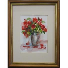 Obraz - Akvarel- Červené ruže- Mária Lenárdová
