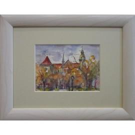 Obraz - Akvarel- Košice v jeseni- Mária Lenárdová