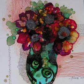 Obraz - Kompozícia so zelenou vázou - Martina Štecová