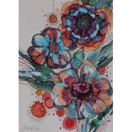 Obraz - Kompozícia s modrými kvetmi - Martina Štecová