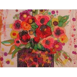 Obraz - Kvety vo fialovej váze- Martina Štecová