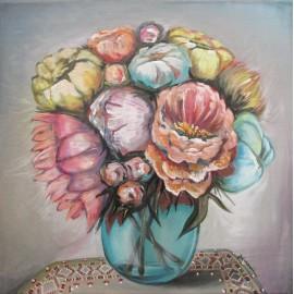 Obraz - Akryl - Modrá váza- Mgr.Lucia Chocholáčková