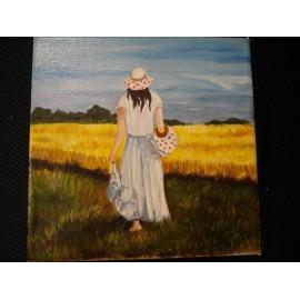 Obraz - Olejomaľba - Dievča v klobúku - Milan Fabián