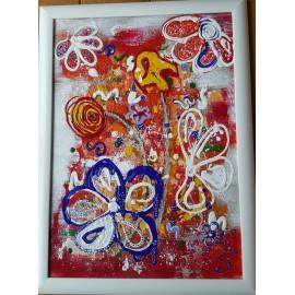 Obraz - Kombinovaná technika - Kvety na červenom plátne - Katarína Haraksimová