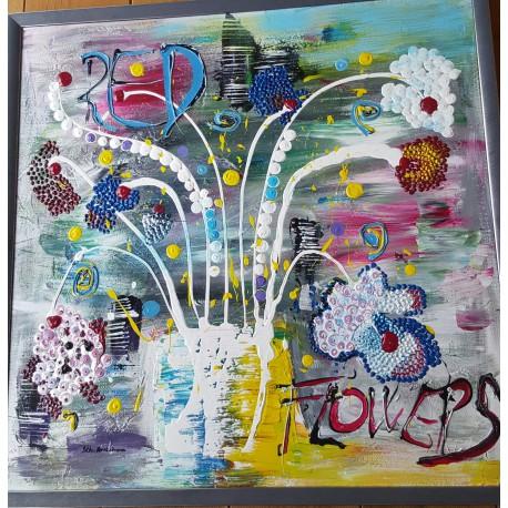 Obraz - Kvety vo váze - Ručne maľovaný