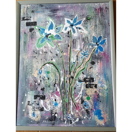 Obraz - Modré kvety - Ručne maľovaný