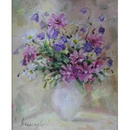 Obraz - Akryl na plátne - Kytička ružovofialová - Ester Ksenzsighová