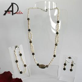 Perly + záhneda - náhrdelník, náramok, náušnice