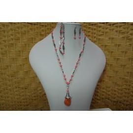 Korál-ružový-náhrdelník,náramok a náušnice