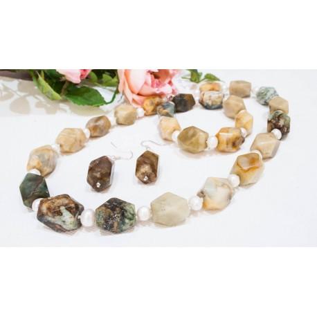 Jantár + Perla - náhrdelník, náramok, náušnice